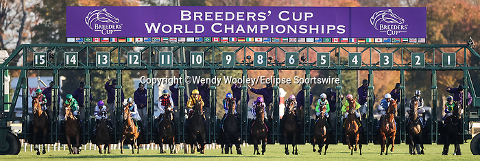 November 6, 2020: Horses storm out of the gate at the beginning of the Juvenile Fillies Turf on Breeders' Cup Championship Friday at Keeneland on November 6, 2020: in Lexington, Kentucky. Wendy Wooley/Breeders' Cup/Eclipse Sportswire/CSM