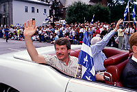 Montreal. CANADA -  June 1990 File Photo - Jean Dore, Montreal mayor attend the Saint-Jean-Baptiste (Quebec National Holliday) Parade on Sherbrooke Street.<br /> <br /> File Photo : Agence Quebec Pressse  - Pierre Roussel