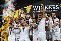 21st August 2020, Rheinenergiestadion, Cologne, Germany; Europa League Cup final Sevilla versus Inter Milan;  Players of Sevilla FC lift the UEFA Europa League Trophy following victory in the UEFA Europa League Final