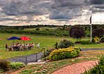 A group enjoys wine, snacks, and company on the lawn near the winery at Swedenburg Estate Vineyard.  (HDR image)