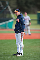 Virginia Cavaliers head coach Brian O'Connor discusses a call during the game against the Hartford Hawks at The Ripken Experience on February 27, 2015 in Myrtle Beach, South Carolina.  The Cavaliers defeated the Hawks 5-1.  (Brian Westerholt/Four Seam Images)