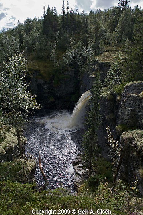 Myfallet, a small waterfall with 3 falls, 130 meter total fall. Situated at Venabygdsfjell, close to Ringebu, Norway