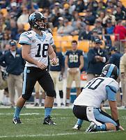 North Carolina placekicker Thomas Moore. The North Carolina Tar Heels defeated the Pitt Panthers 34-27 at Heinz Field, Pittsburgh Pennsylvania on November 16, 2013.
