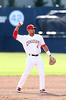 Franklin Barreto #4 of the Vancouver Canadians during a game against the Hillsboro Hops at Nat Bailey Stadium on July 24, 2014 in Vancouver, British Columbia. Hillsboro defeated Vancouver, 7-3. (Larry Goren/Four Seam Images)