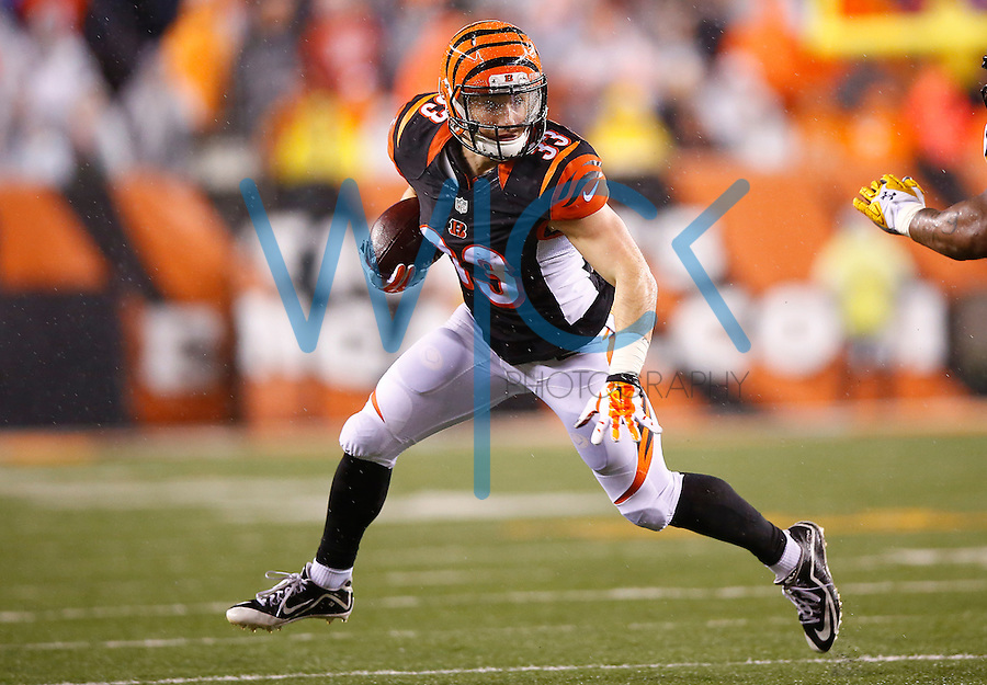 Rex Burkhead #33 of the Cincinnati Bengals in action against the Pittsburgh Steelers during the Wild Card playoff game at Paul Brown Stadium on January 9, 2016 in Cincinnati, Ohio. (Photo by Jared Wickerham/DKPittsburghSports)