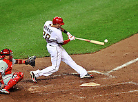 27 September 2010: Washington Nationals' infielder Michael Morse in action against the Philadelphia Phillies at Nationals Park in Washington, DC. With an 8-0 shutout win, the Philles become the National League Eastern Division Champions. Mandatory Credit: Ed Wolfstein Photo