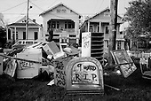New Orleans, Louisiana.USA.September 29, 2005 ..Hurricane Katrina damage and recovery. Art work on Canal street's medium. The artist and home owner, who lives on the street, was arrested by the National Guard for the display.