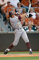 Arizona State Sun Devil first baseman Zach Wilson #25 swings against the Texas Longhorns in NCAA Tournament Super Regional Game #3 on June 12, 2011 at Disch Falk Field in Austin, Texas. (Photo by Andrew Woolley / Four Seam Images)