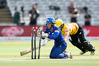 Katherine Brunt, Trent Rockets fails to make her ground nd is run out by Amara Carr during London Spirit Women vs Trent Rockets Women, The Hundred Cricket at Lord's Cricket Ground on 29th July 2021