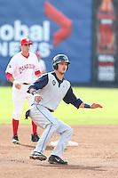 Grant Heyman #32 of the Hillsboro Hops runs the bases during a game against the Vancouver Canadians at Nat Bailey Stadium on July 24, 2014 in Vancouver, British Columbia. Hillsboro defeated Vancouver, 7-3. (Larry Goren/Four Seam Images)