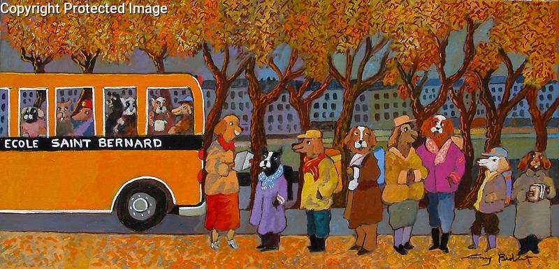 Paris, Back to School at Ecole Saint Bernard<br /> 12x24 Acrylic on Canvas<br /> Cherrywood Custom Frame<br /> $8,500