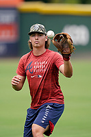 Garrett Saunders (30) of the Rome Braves before a game against the Greenville Drive on Tuesday, August 3, 2021, at Fluor Field at the West End in Greenville, South Carolina. (Tom Priddy/Four Seam Images)