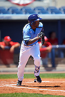 Charlotte Stone Crabs left fielder Bralin Jackson (24) runs to first during a game against the Palm Beach Cardinals on April 10, 2016 at Charlotte Sports Park in Port Charlotte, Florida.  Palm Beach defeated Charlotte 4-1.  (Mike Janes/Four Seam Images)