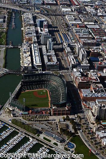 aerial photograph AT&T Giants baseball park south beach marina CalTrain station San Francisco California