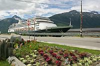 Holland America cruise ship Zaandam, docked in Skagway, end of the Lynn Canal, Southeast, Alaska