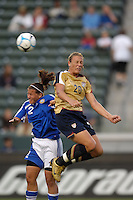 USA's Abby Wambach and Finland's Marian Dalmy battle for the ball. The USA women's national team defeated Finland 4-0 at the Home Depot Center in Carson, CA, on August 25, 2007. (Photo by Matt A. Brown/ISIphotos.com)