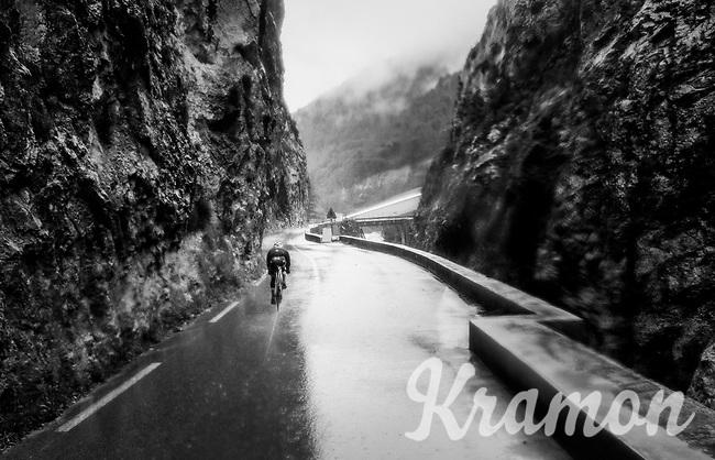 Julien Bernard (FRA/Trek-Segafredo) moving solo in a crevasse  through the torrential rains<br /> <br /> 76th Paris-Nice 2018<br /> Stage 8: Nice > Nice (110km)