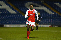 GOAL - Fleetwood Town's Jordy Hiwula celebrates scoring his sides third goal during the The Checkatrade Trophy match between Bury and Fleetwood Town at Gigg Lane, Bury, England on 9 January 2018. Photo by Juel Miah/PRiME Media Images.