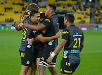 Chiefs players celebrate at the final whistle of the Super Rugby Aotearoa match between the Hurricanes and Chiefs at Sky Stadium in Wellington, New Zealand on Saturday, 20 March 2020. Photo: Dave Lintott / lintottphoto.co.nz