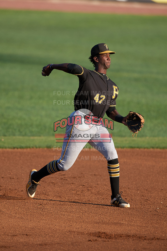 Bristol Pirates third baseman Sherten Apostel (47) throws to first base during a game against the Bluefield Blue Jays on July 26, 2018 at Bowen Field in Bluefield, Virginia.  Bristol defeated Bluefield 7-6.  (Mike Janes/Four Seam Images)