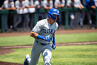 Duke Blue Devils first baseman Chris Crabtree (3) jogs to first base during the game against the Wright State Raiders in NCAA Regional play on Robert M. Lindsay Field at Lindsey Nelson Stadium on June 5, 2021, in Knoxville, Tennessee. (Danny Parker/Four Seam Images)