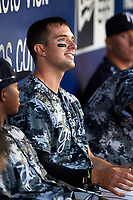 Tampa Yankees Austin Aune (31) in the dugout during a game against the Bradenton Marauders on April 15, 2017 at George M. Steinbrenner Field in Tampa, Florida.  Tampa defeated Bradenton 3-2.  (Mike Janes/Four Seam Images)