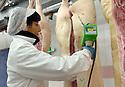 20/12/06 - MONTLUCON - ALLIER - FRANCE - MONTLUCON VIANDES SAS. Etiquetage de carcasse de porc - Photo Jerome CHABANNE