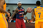 Herbalife Gran Canaria's playes Richard Hendrix and Bo McCalebb and FC Barcelona Lassa player Tyrese Rice during the final of Supercopa of Liga Endesa Madrid. September 24, Spain. 2016. (ALTERPHOTOS/BorjaB.Hojas)