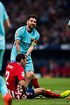 Lionel Andres Messi of FC Barcelona helps Diego Roberto Godin Leal of Atletico de Madrid to get up during the La Liga 2017-18 match between Atletico de Madrid and FC Barcelona at Wanda Metropolitano  on 14 October 2017 in Madrid, Spain. Photo by Diego Gonzalez / Power Sport Images