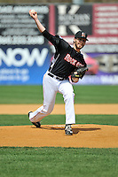 Matt Flemer(24) of the New Britain Rock Cats delivers a pitch during a game between the New Britain Rock Cats and the New Hampshire Fisher Cats at New Britain Stadium on April 19, 2015 in New Britain, Connecticut.<br /> (GregoryVasil/FourSeamImages)