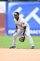 Connecticut Tigers second baseman Domingo Leyba (7) during the first game of a doubleheader against the Batavia Muckdogs on July 20, 2014 at Dwyer Stadium in Batavia, New York.  Connecticut defeated Batavia 5-3.  (Mike Janes/Four Seam Images)