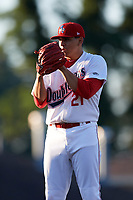 Auburn Doubledays starting pitcher Seth Romero (21) looks in for the sign during a game against the Connecticut Tigers on August 8, 2017 at Falcon Park in Auburn, New York.  Auburn defeated Connecticut 7-4.  (Mike Janes/Four Seam Images)