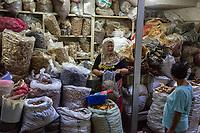 Yogyakarta, Java, Indonesia.  Spice Vendor, Beringharjo Market.