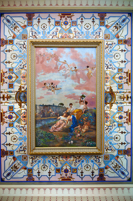 Romantic style painting above the stairway at the Achilleion  [ Achilles, ???????? ]  Palace [ 1890 built by Elizabeth [ Sissi ] Emperess of Austria