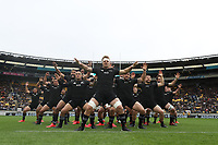 WELLINGTON, NEW ZEALAND - OCTOBER 11: All Blacks captain Sam Canes leads the haka during the Bledisloe Cup match between the New Zealand All Blacks and the Australian Wallabies at Sky Stadium on October 11, 2020 in Wellington, New Zealand. Photo: Phil Walter / pool