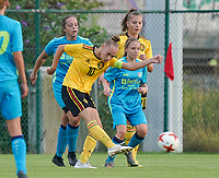 20200820 - TUBIZE , Belgium : Belgium's Marine Rosala (10) gives a pass pduring a friendly match between Belgian national women's youth soccer team called the Red Flames U17 and Union Saint-Ghislain Tetre , on the 20th of August 2020 in Tubize.  PHOTO: Sportpix.be | SEVIL OKTEM