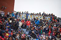 Bridgeview, IL - Saturday April 14, 2018: LA Galaxy fans during a regular season Major League Soccer (MLS) match between the Chicago Fire and the LA Galaxy at Toyota Park.  The LA Galaxy defeated the Chicago Fire by the score of 1-0.