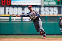 Lehigh Valley IronPigs shortstop Dean Anna (8) throws to first base during a game against the Rochester Red Wings on July 1, 2018 at Frontier Field in Rochester, New York.  Rochester defeated Lehigh Valley 7-6.  (Mike Janes/Four Seam Images)