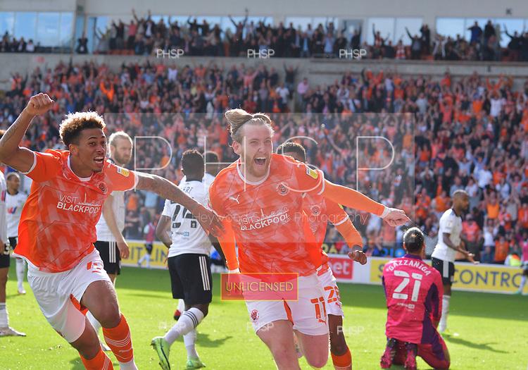 11/09/2021 Sky Bet Championship Blackpool v Fulham<br /> <br /> Josh Bowler celebrates after securing victory for Blackpool