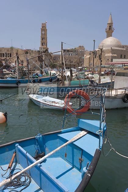 Asie/Israël/Galilée/Saint-Jean-d'Acre: la vieille ville, le port et le minaret de la mosquée