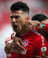 27th April 2021; Estadio Beira Rio, Porto Alegre, Brazil; Copa Libertadores, Internacional versus Deportivo Tachira; Victor Cuesta of Internacional celebrates his goal in the 20th minute 1-0