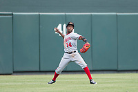 Mesa Solar Sox center fielder Victor Robles (14) of the Washington Nationals organization, prepares to make a throw during an Arizona Fall League game against the Salt River Rafters on October 30, 2017 at Salt River Fields at Talking Stick in Scottsdale, Arizona. The Solar Sox defeated the Rafters 8-4. (Zachary Lucy/Four Seam Images)