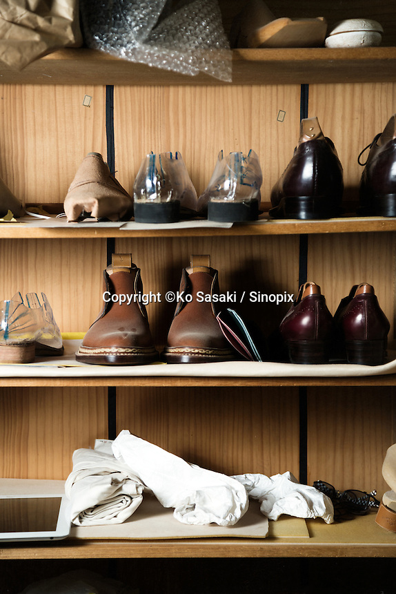Shoes at the shelf at atelier of Sarukawa Footwear College