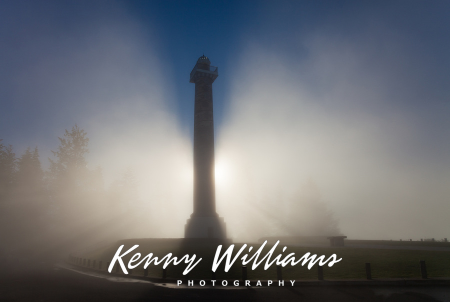 Astoria Column, Observation Tower at Sunrise in Fog, Oregon