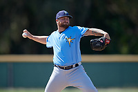 Tampa Bay Rays Taylor Hawkins (70) during a minor league Spring Training game against the Baltimore Orioles on March 29, 2017 at the Buck O'Neil Baseball Complex in Sarasota, Florida.  (Mike Janes/Four Seam Images)