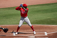 Philadelphia Phillies Roman Quinn (24) bats during a Major League Spring Training game against the Baltimore Orioles on March 12, 2021 at the Ed Smith Stadium in Sarasota, Florida.  (Mike Janes/Four Seam Images)