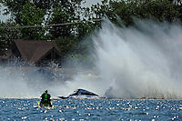 """Frame 5: Kevin Kreitzer, A-64 """"Blue Devil"""" hooks in turn 2 and blows some decking off the boat. (2.5 MOD class hydroplane(s)"""