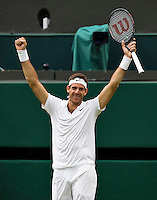 London, England, 01 July, 2016, Tennis, Wimbledon, Juan Martin Del Potro (ARG) celebrates match point during his match against Stanislas Wawrinka (SUI)<br /> Photo: Henk Koster/tennisimages.com
