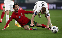 Footbal Soccer: FIFA World Cup Qatar 2022 Qualification, Portugal - Azerbaijan, Allianz Stadium , Turin, March 24, 2021.<br /> Portugal's Bernardo Silva (L) in action with Azerbaijan's captain Maksim Medvedev (R) during the FIFA World Cup Qatar 2022 qualification, football match between Portugal and Azerbaijan, at Allianz Stadium in Turin, on March 24, 2021.<br /> UPDATE IMAGES PRESS/Isabella Bonotto