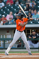 Henry Urrutia (51) of the Norfolk Tides at bat against the Charlotte Knights at BB&T BallPark on April 20, 2016 in Charlotte, North Carolina.  The Knights defeated the Tides 6-3.  (Brian Westerholt/Four Seam Images)